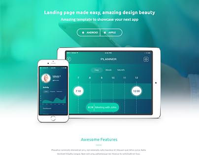 Modern App Landing Page PSD template