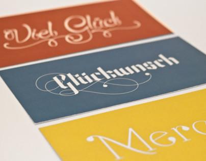 Typografische Grußkarten