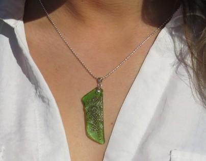 Snake Skin Decoupaged Beach Glass Pendants