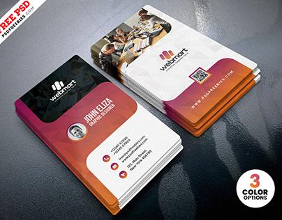 Vertical Creative Business Card Design PSD