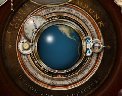 Steampunk Rotating Earth Widget