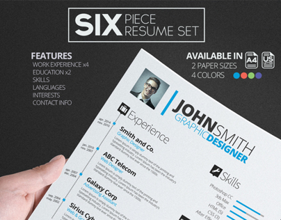 SIX Resume/CV Set