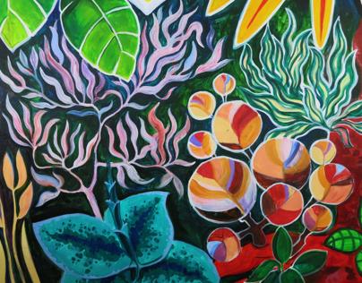 Magic Garden. Restaurant. Wall-painting