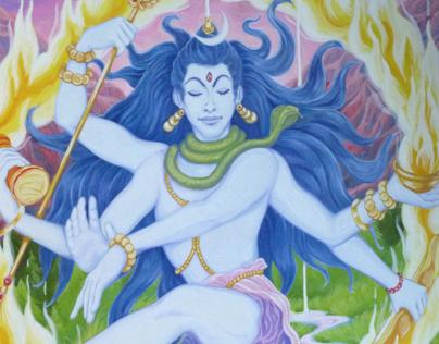 Shiva gouache painting