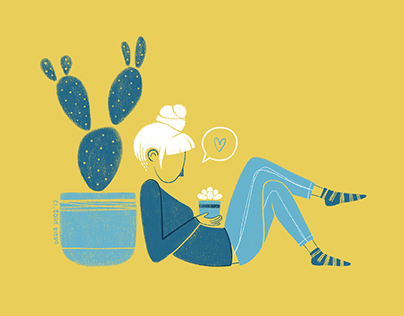 blue&yellow illustration series