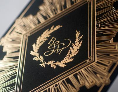Black and Gold Deco Wedding Invitation