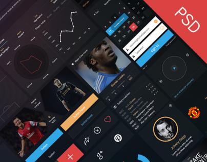 Football - Flat UI kit (PSD file)