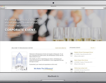 Banquet Rooms Website Mockup