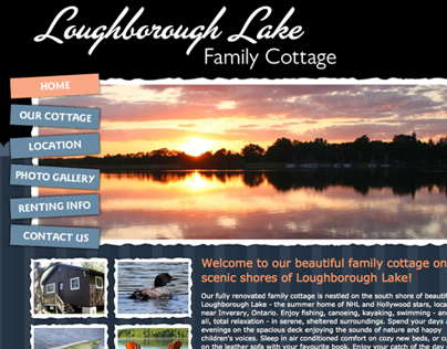 Website for Loughborough Lake Family Cottage Rentals
