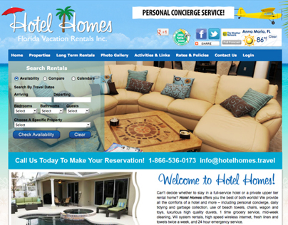 Website for Hotel Homes Florida Vacation Rentals