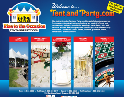 Website for Rise to the Occasion Tent and Party