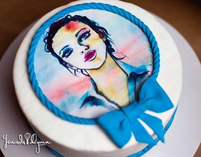 Cake with watercolor print.