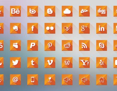Flat Orange Social Media