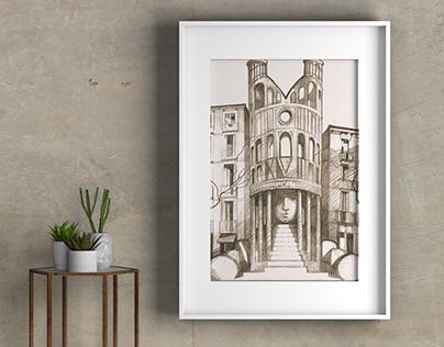 "Arqutectural fantasy ¨Leibniz Library"" 2020"