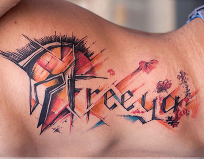 Abstract Warrior Script Tattoo
