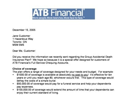 Follow up ltr. to potential customers of life insurance