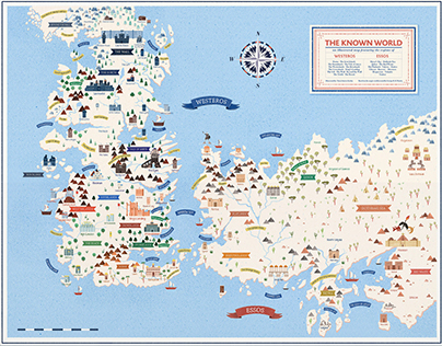 Game of Thrones sigils and illustrated map