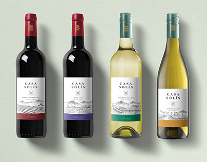 Illustration Label Vineyard House Solis