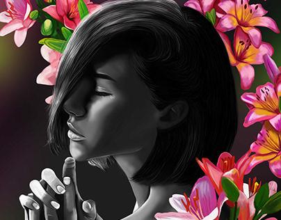 Ilustración Digital, La Chica del alma de flores
