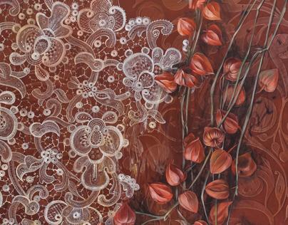 Mobilier pictat - decor vegetal