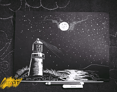 The Night's Beauty | White Charcoal Drawing | Syed Art