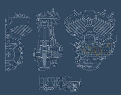 Harley Davidson engine. Line graphic