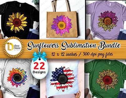 Sunflowers Sublimation designs Bundle