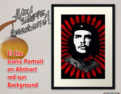 El Che Iconic Portrait on Abstract red sun