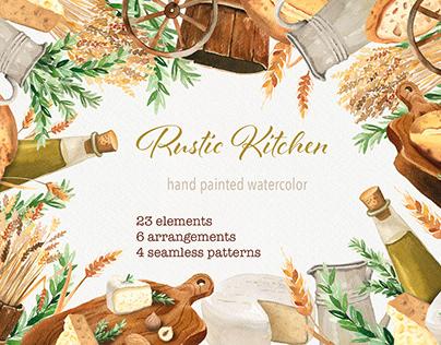 Watercolor rustic kitchen