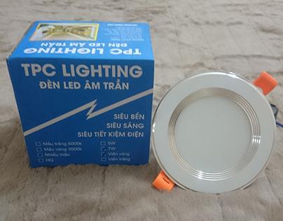 Mẫu đèn led âm trần 3 màu D90 7w viền trắng