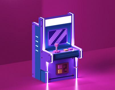 low poly arcade machine