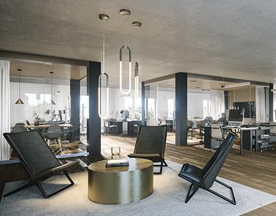 Interior visualization of office space in Munich