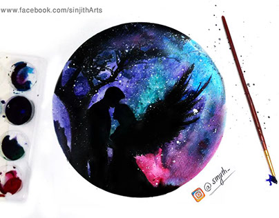 Galaxy love 💙💜 :) watercolour painting