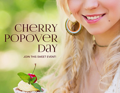 Landing page Cherry Popover Day, cherry cupcakes