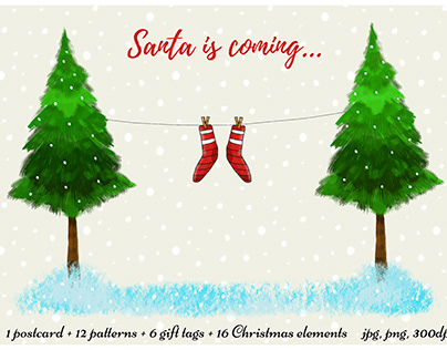 Santa is coming - Christmas postcard, tags, patterns