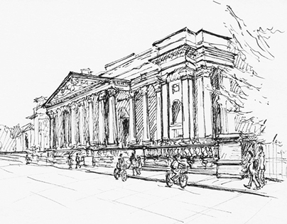 Fitzwilliam Museum - step by step sketch