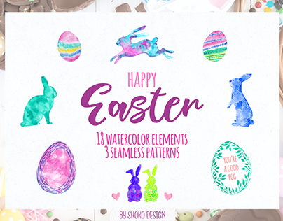 Easter watercolor set 21 high quality elements