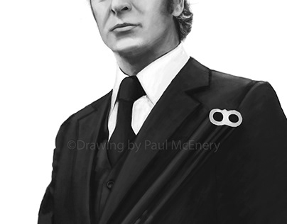 Pencil Drawing of Sir Michael Caine in Get Carter