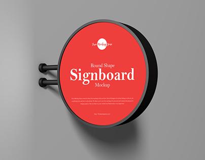 Free Round Shape Signboard Mockup