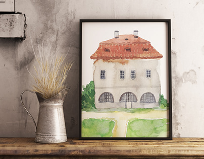 Watercolor illustrations. Werichova vila. Prague.