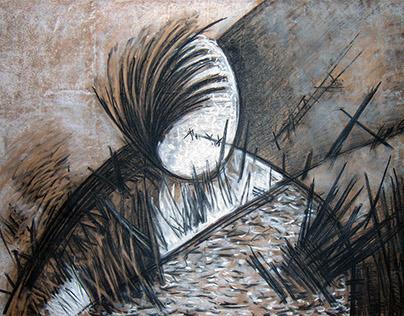 Abstract drawing -2015- mix medium- chalk and charcoal