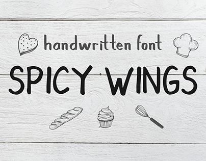 SPICY WINGS hand written sans font
