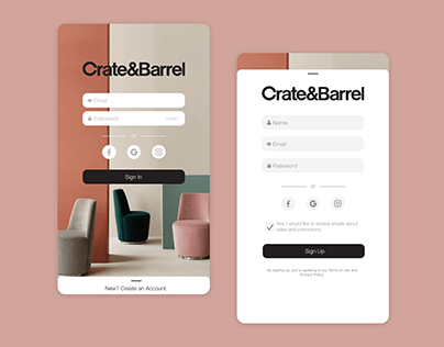 Daily UI Challenge 01 | Crate&Barrel App