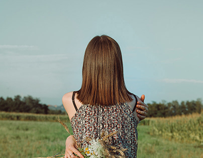 A girl in the field