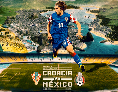 Poster Futbol Croacia vs Mexico
