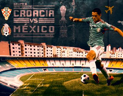 Poster Copa del Mundo Croacia vs Mexico.