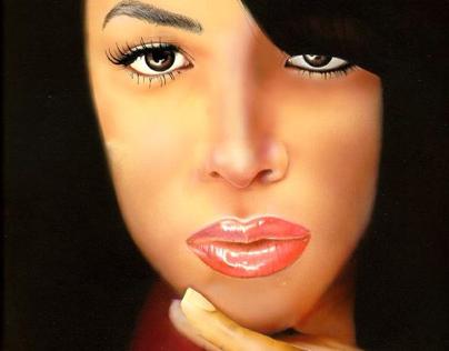Aaliyah Rendering. Airbrush. Colored Pencil.