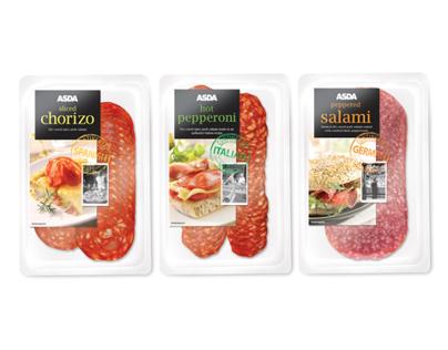 ASDA Continental Cold Meats Range Packaging Design