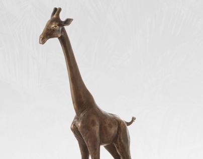 Bronze statue of giraffe - limited edition - original
