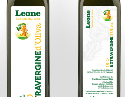 Oleificio Leone - Olive Oil label (bottle and oil can)